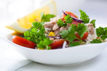Rice and tuna salad with fresh herbs