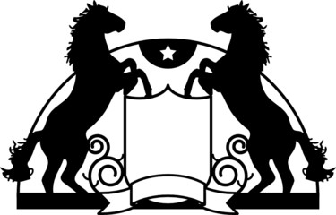 Coat of arms with stylized horse, vector illustration