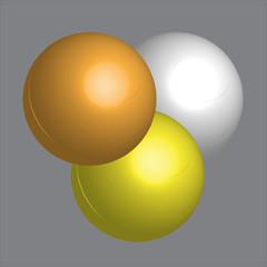 Three balls on the grey background