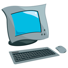 Vector design of computer set of mouse, keyboard and monitor