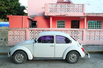 Tuinposter Oude auto s Caribbean pink house tropical retro car facade