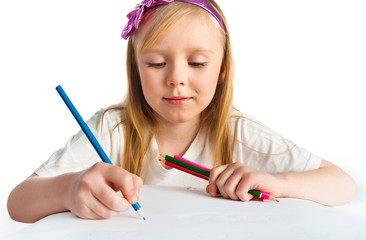 Adorable little girl drawing artwork