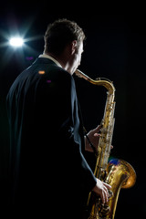 Playing sax solo to the audience