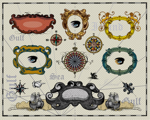Antique map design elements