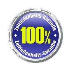100% zufriedenheit zufriedenheitsgarantie blue button