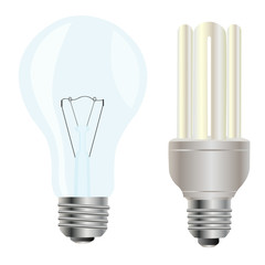 Two electric light bulbs