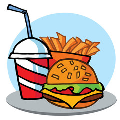 Cheeseburger With Drink And Fries