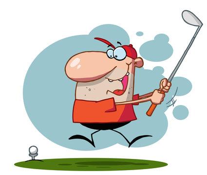 Energetic Toon Guy Swinging His Golf Club