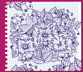 Ink floral pattern in a notebook