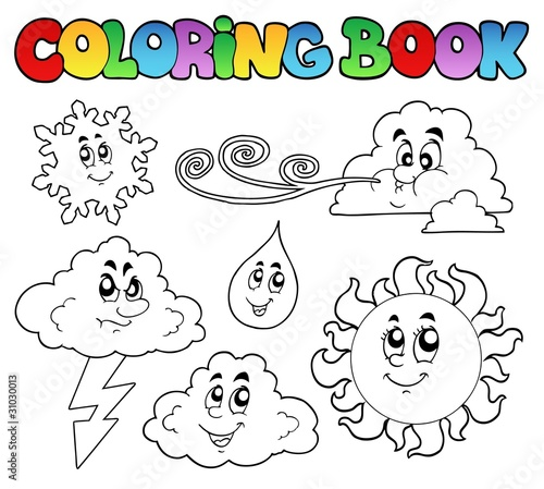 Coloring book with weather images\