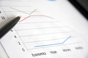 Conjunto de gráficos que mostram sucesso e crise