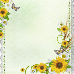 Summer background with butterfly and flowers (1 of set)