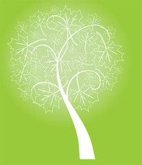 vector abstract tree with leaves