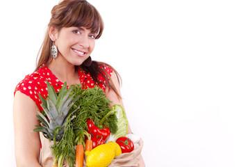 Vegetable fruit shopping women