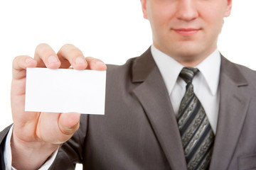Fotobehang - Businessman showing blank card