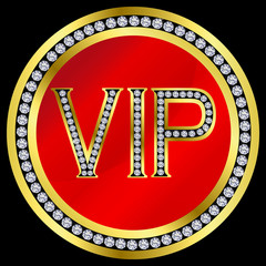 Vip with diamonds,vector
