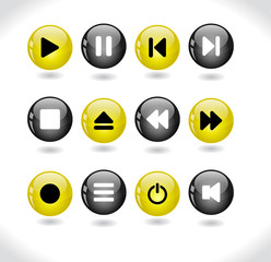 Buttons with media icons.