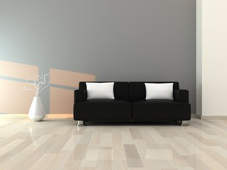 Interior of the modern room, grey wall and black sofa
