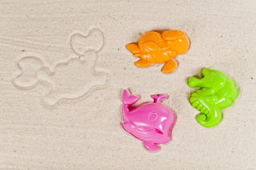 Colorful beach toy in shape of sea animal