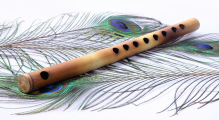 Indian Flute With Peacock Feather