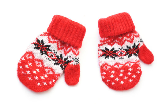 Pair of red mittens