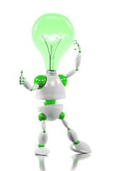 energy saving robot having a good idea concept