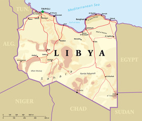 Libya political map with capital Tripoli, with national borders and most important cities. Illustration with English labeling and scaling.
