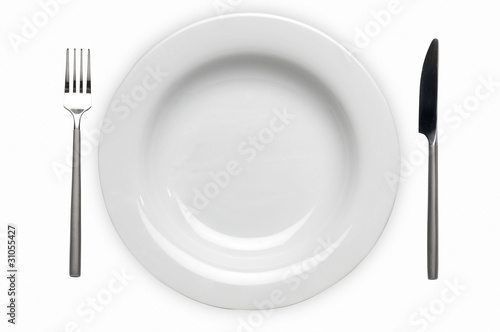 Cubierto con placa plato cuchillo y tenedor fotos de for Plato tenedor y cuchillo