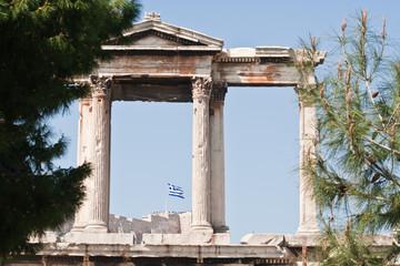 Greek flag on Acropolis hill