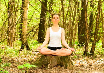 young woman in meditation pose