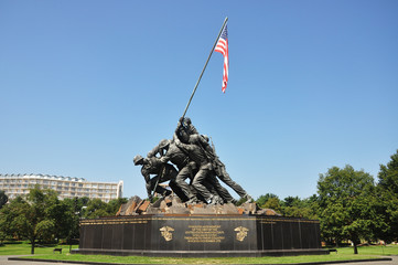 """Flags of Our Fathers"" Iwo Jima memorial in Washington DC, USA"