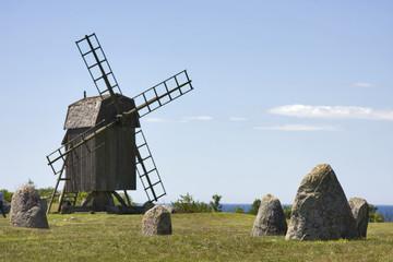 windmühle bei gettlinge in schweden auf öland