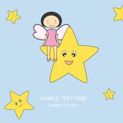 Keuken foto achterwand Hemel Baby girl sitting on a star