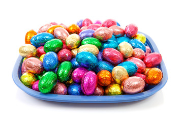 plate with colorful easter eggs over white background