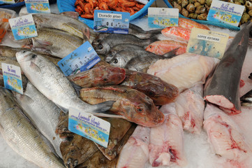 marché au poissons de Port en Bessin en Normandie