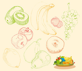 Stylized fruit and fruit group on a plate