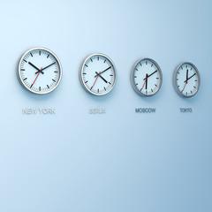 Uhren mit verschiedenen Zeitzonen