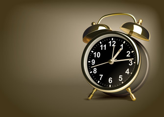 Alarm clock on a brown background. Vector illustration
