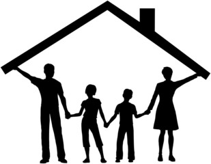 Family under house hold home roof over kids