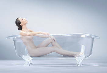 brunette beauty takes a bath