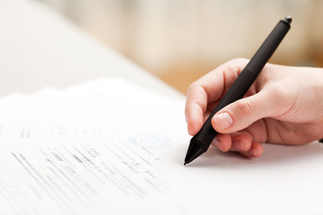 Pen writing business document