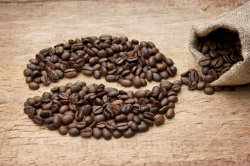 coffee beans on the board
