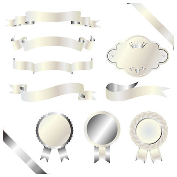 set of silver and white emblem