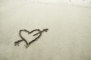 A heart drawn in sand