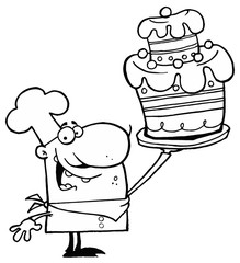 Outlined Proud Chef Holding Up A Masterpiece Layered Cake