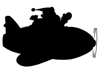 Solid Black Silhouette Of Santa Flying A Plane