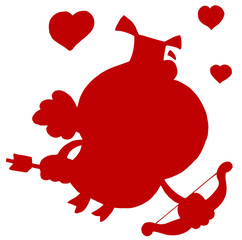 Red Silhouette Of A Pig Cupid