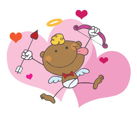 Black Stick Cupid With A Bow And Arrow