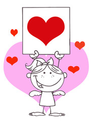 Stick Blond Girl Cupid Holding A Red Heart Sign