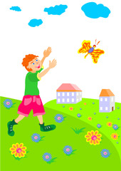 boy runs across the field after a butterfly